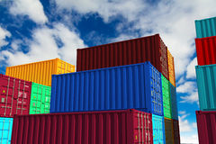 Stacked Cargo Containers on Sky Background. Royalty Free Stock Image
