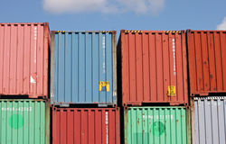 Stacked Cargo Containers Stock Image