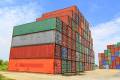 Stacked cargo containers Royalty Free Stock Photos