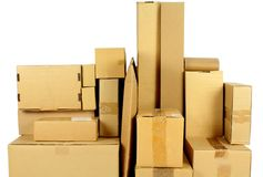 Stacked carton boxes Royalty Free Stock Image