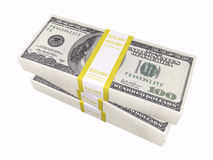 Stacked cash on white background Stock Images