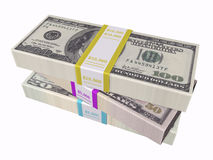 Stacked cash on white background Royalty Free Stock Photo