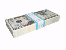 Stacked cash on white background Stock Photo
