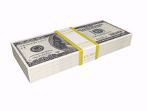 Stacked cash on white background Stock Photography