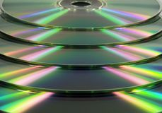 Stacked CD/DVD's. Stacked disks Royalty Free Stock Photos