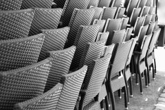 Stacked chairs. Chairs stacked outside a pub before opening time Stock Images