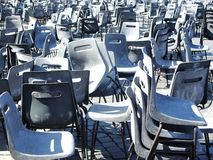 Stacked chairs on Saint Peter Square in Vatican City Rome royalty free stock photography
