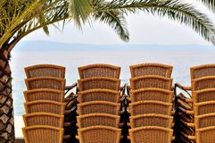 Stacked chairs under palm tree in the beach Royalty Free Stock Photo