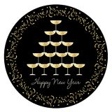 Stacked champagne glasses with confetti circle frame. Stacked champagne glasses  graphic with gold Royalty Free Stock Photos