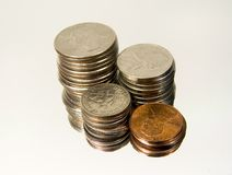 Stacked Change 4. Photo of Quarters, Nickels, Dimes and Pennies stock image