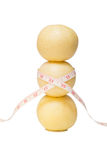 Stacked of Chinese pear with a tape measure Stock Images
