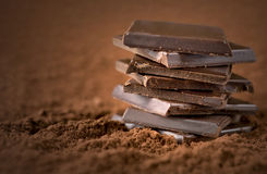 Stacked chocolate bars Stock Images