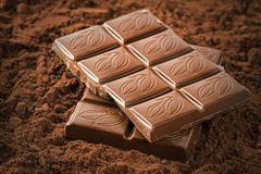 Stacked chocolate bars. Stack of chocolate Bars Close up royalty free stock photos