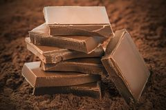 Stacked chocolate bars Royalty Free Stock Photos