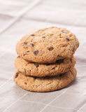 Stacked chocolate chip cookies Royalty Free Stock Images