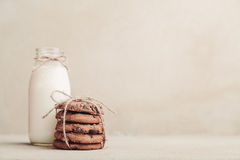 Stacked chocolate chip cookies on grey table Royalty Free Stock Photo