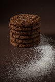 Stacked chocolate chip cookies shot with selective focus Royalty Free Stock Images
