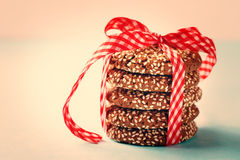 Stacked Chocolate Crispy Cookies with Sesame Stock Photography