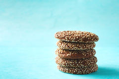 Stacked Chocolate Crispy Cookies with Sesame Stock Photo