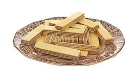 Stacked Chocolate Filled Wafers on Plate Stock Photo