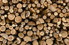 Stacked chopped wood. Background of stacked chopped wood prepared for winter Stock Images