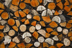 Stacked chopped wood. Background of stacked chopped wood prepared for winter Royalty Free Stock Photo