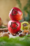 Stacked christmas apples Royalty Free Stock Image