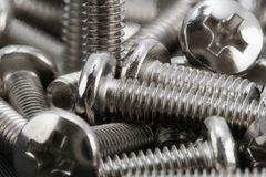 Stacked of chrome bolts Royalty Free Stock Photo
