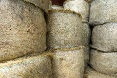 Stacked circular hay bale texture Royalty Free Stock Photography
