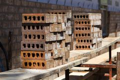 Stacked Clay Bricks Stock Image