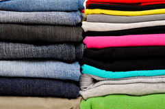 Stacked clothes Stock Image