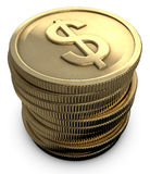 Stacked Coins. With a dollar symbol on a white background Royalty Free Stock Images