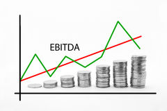 Stacked Coins on Ebitda Royalty Free Stock Image
