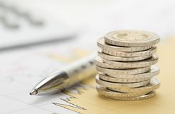 Finance and stacked coins Stock Image