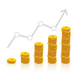 Stacked coins graph arrow Stock Images