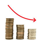 Stacked coins graph arrow Royalty Free Stock Photography
