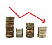 Stacked coins graph arrow Stock Image