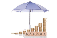 Stacked Coins And Salary Blocks Under Umbrella Royalty Free Stock Image