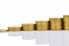 Stacked coins, upward trend Royalty Free Stock Image