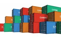 Stacked color cargo containers. Isolated on white background Royalty Free Stock Images