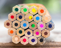 Stacked color pencils showing different colors Stock Photos
