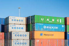 Stacked colored containers Royalty Free Stock Image