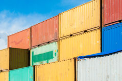 Stacked colored containers. At the harbor of Catania Royalty Free Stock Photo