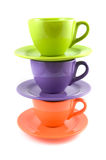 Stacked colored cups Stock Images