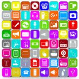 Stacked and Colored 64 3D Multimedia Icons Background. Stacked and Colored 64 3D Multimedia Icons with Aluminum Frame Arranged in a Square Image Format royalty free illustration
