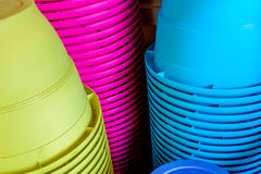 Stacked colored planting pots Stock Image