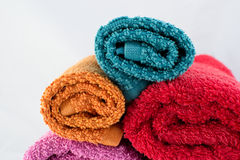 Stacked colored towels Royalty Free Stock Image