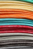 Stacked Colorful Blankets at the Market Stock Photos