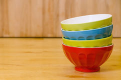 Stacked colorful bowls Stock Image
