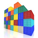 Stacked Colorful Cargo Containers. Industrial and Transportation Royalty Free Stock Photos